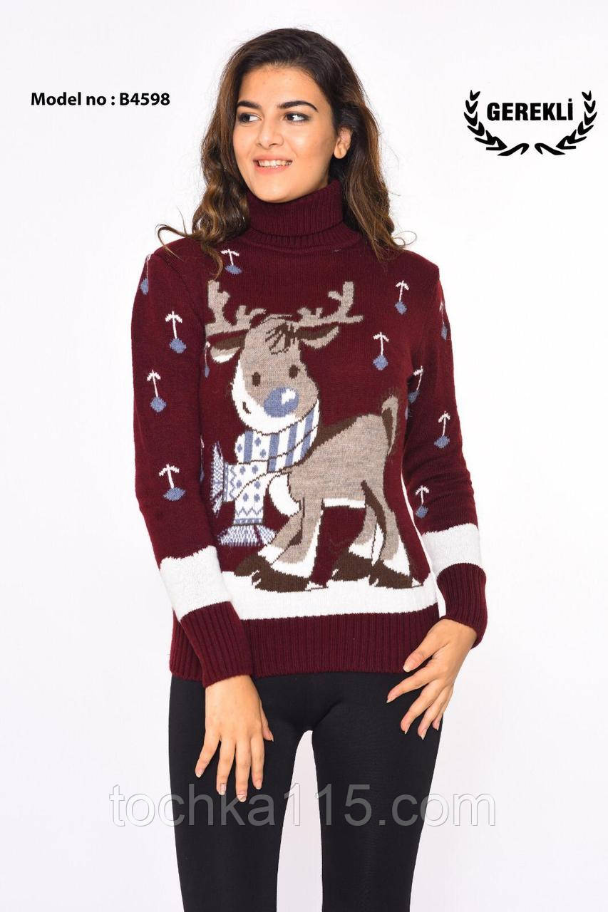 Стильный теплый шерстяной женский свитер с оленями (вязка)