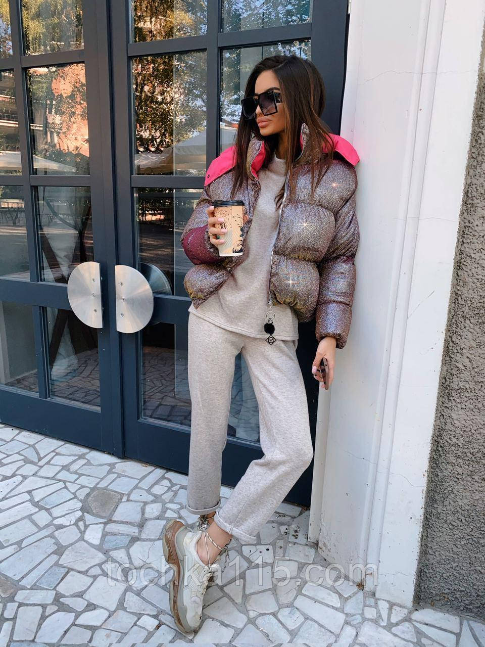 Супер модна куртка з голографічним напиленням (оверсайз), колір рожевий