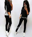 Спортивний костюм жіночий двухнитка весна/літо з коротким рукавом S/M/L/XL (березовий/чорний), фото 3