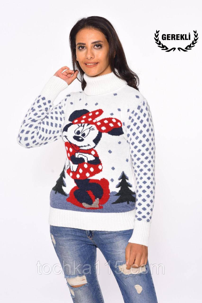 Стильний теплий вовняний жіночий светр з міні маус (в'язка)