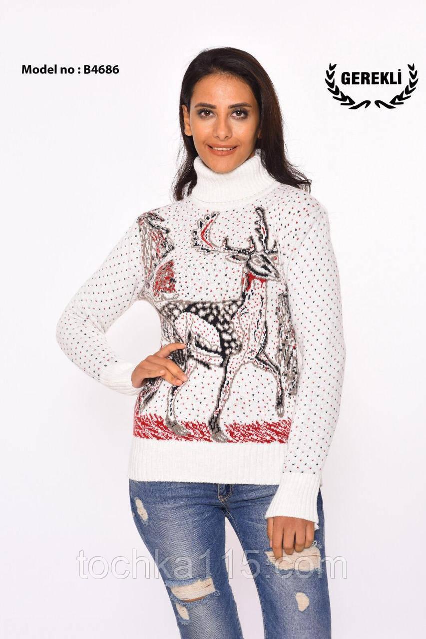 Потрясающий теплый шерстяной женский свитер с оленем (вязка)