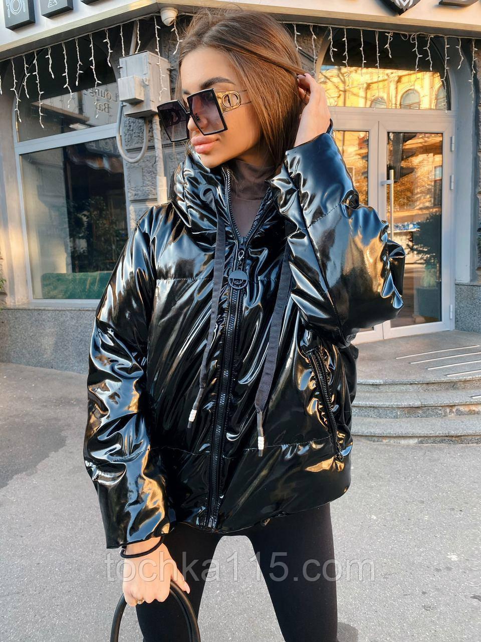 Куртка пуховик из экокожи  в стиле ZARA, S/M, цвет черный лаковый