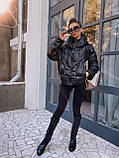 Куртка пуховик из экокожи  в стиле ZARA, S/M, цвет черный лаковый, фото 2