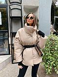 Стильная куртка из экокожи, S/M, пудра, фото 2