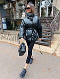 Стильная куртка из экокожи, S/M, пудра, фото 3