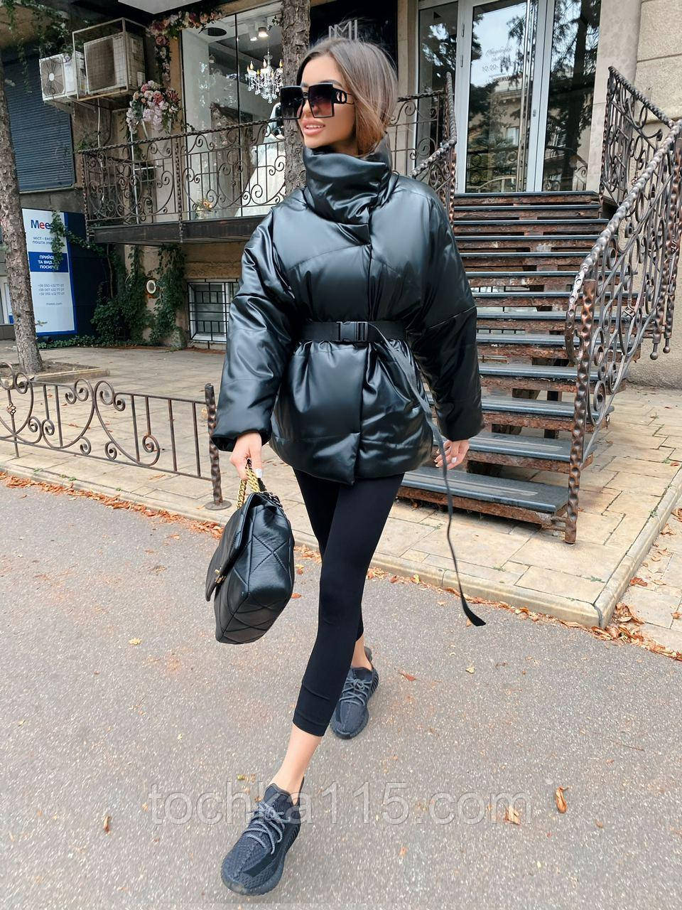 Стильная куртка из экокожи, S/M, черный