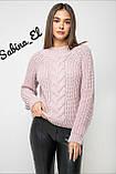 Шерстяной стильный женский свитер (крупная вязка), фото 2