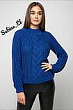 Шерстяной стильный женский свитер (крупная вязка), фото 6