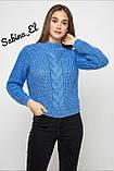 Шерстяной стильный женский свитер (крупная вязка), фото 7