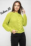 Шерстяной стильный женский свитер (крупная вязка), фото 9