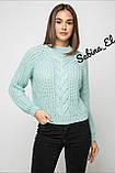 Шерстяной стильный женский свитер (крупная вязка), фото 10