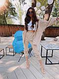 Трендовый костюм,Брюки бананы и объемная рубаха оверсайз, S/M/L, цвет кофе с молоком, фото 4