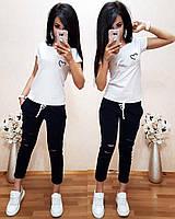 Женская футболка на лето, легкая футболка для девочек S/M/L/XL (белый)