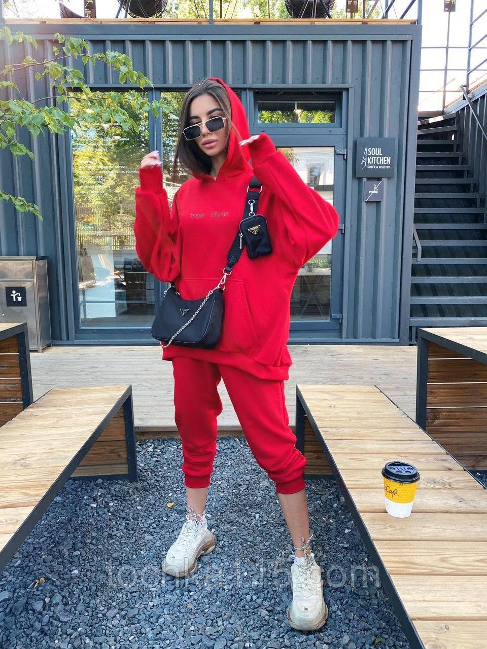 Трендовый стильный костюм, 42-46, 46-48 рр, цвет красный