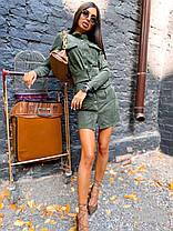 Платье замшевое короткое с карманами на кнопках, фото 3