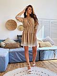 Модне плаття-селянка з натурального льону, декоровані натуральним бавовняним мереживом S/M/L (бежевий), фото 4