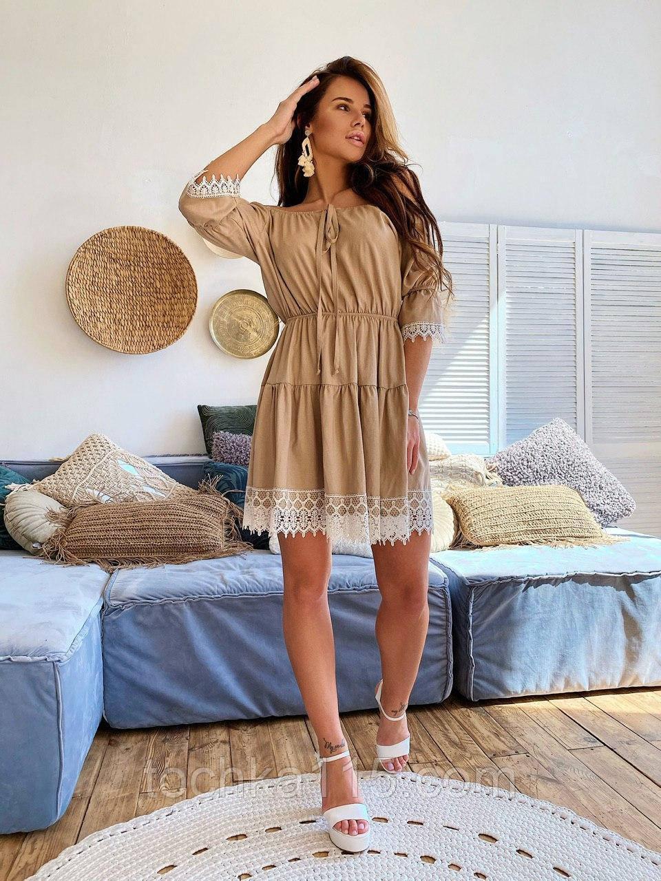 Модне плаття-селянка з натурального льону, декоровані натуральним бавовняним мереживом S/M/L (кавовий)