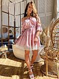 Модне плаття-селянка з натурального льону, декоровані натуральним бавовняним мереживом S/M/L (кавовий), фото 2