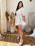 Модне плаття-селянка з натурального льону, декоровані натуральним бавовняним мереживом S/M/L (кавовий), фото 3