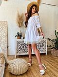 Модне плаття-селянка з натурального льону, декоровані натуральним бавовняним мереживом S/M/L (кавовий), фото 4
