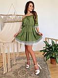 Модне плаття-селянка з натурального льону, декоровані натуральним бавовняним мереживом S/M/L (кавовий), фото 5