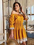 Модне плаття-селянка з натурального льону, декоровані натуральним бавовняним мереживом S/M/L (кавовий), фото 6