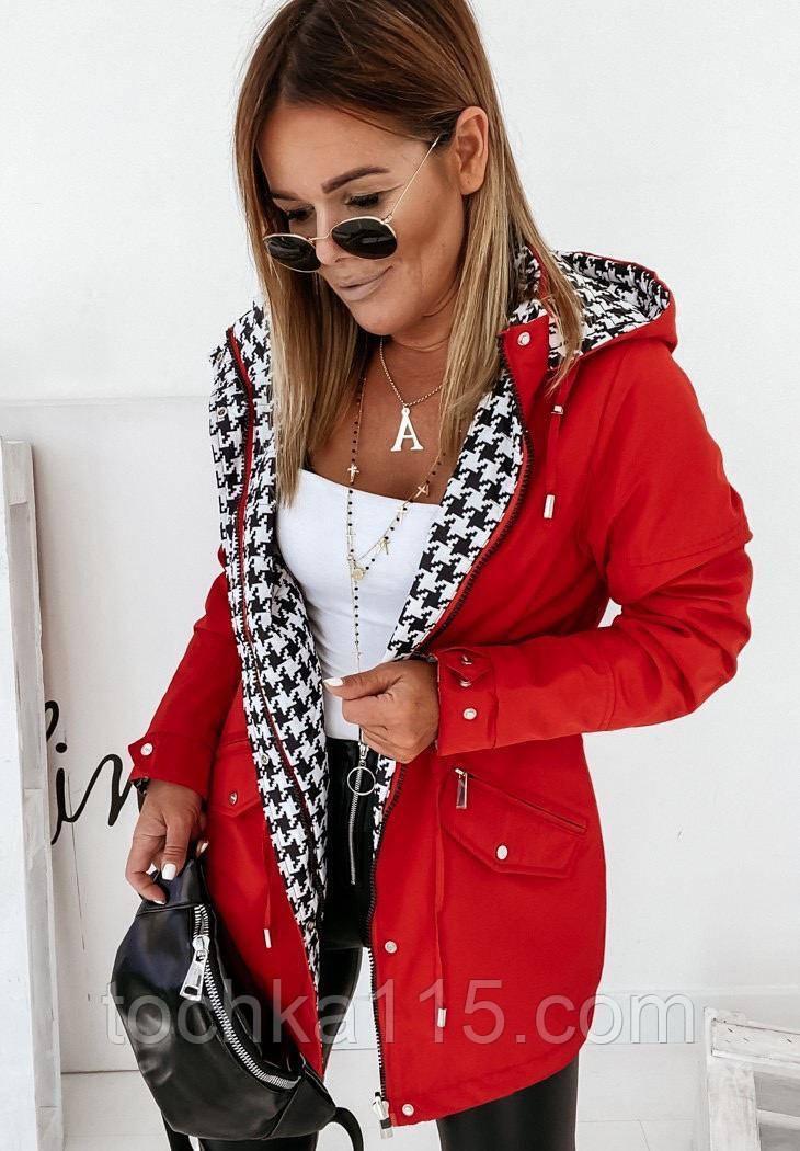 Стильная женская двухсторонняя куртка, принт, S/M/L/XL, цвет красный