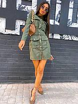 Платье замшевое мини с карманами на кнопках, фото 2