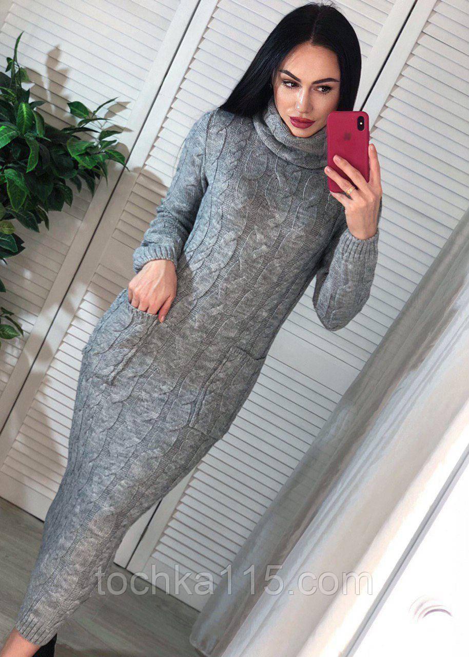 Идеальное вязанное Платье-гольф, 42-46 р, цвет серый