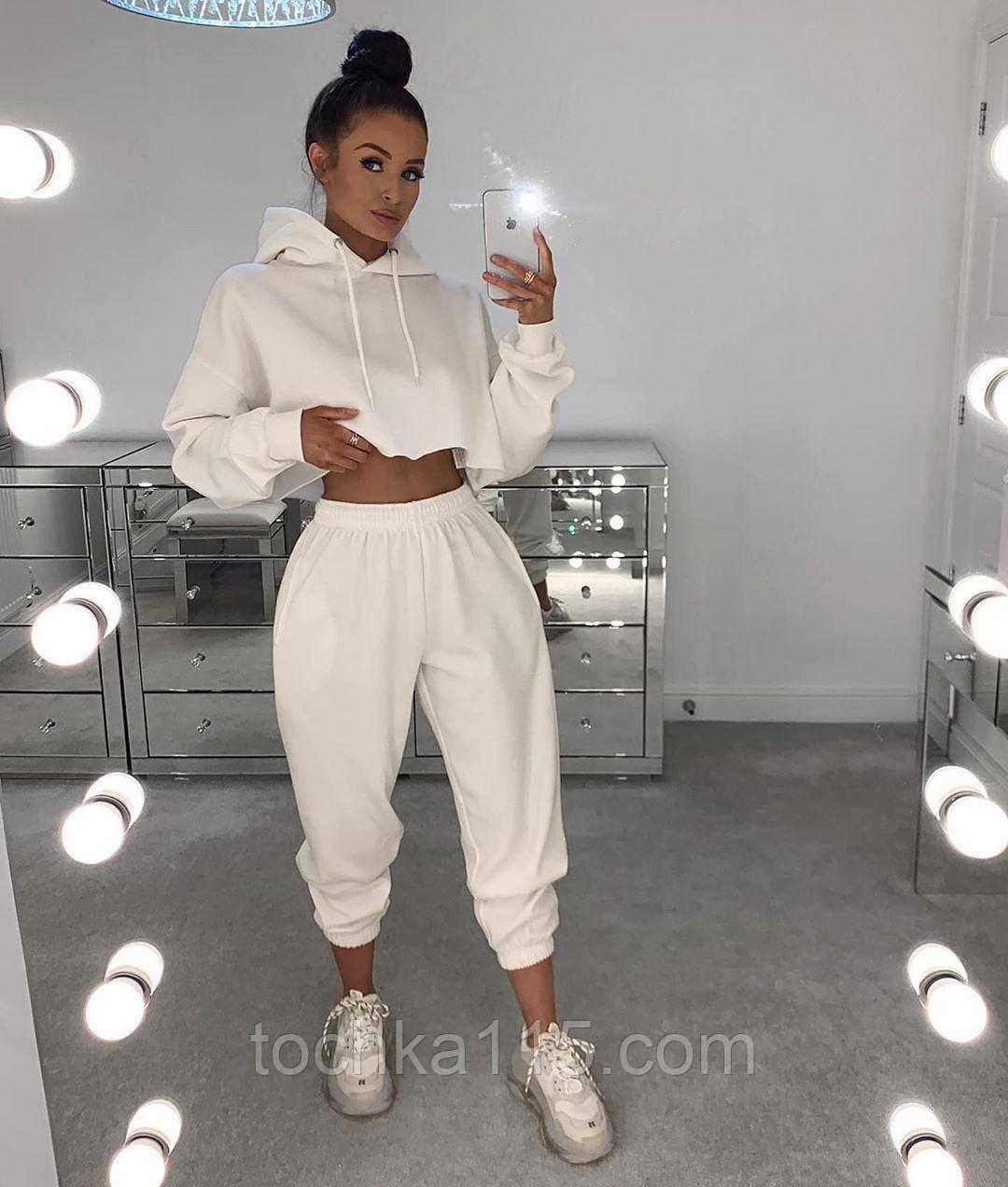 Супер модный базовый костюм с объемным худи, S/M/L/XL, цвет белый