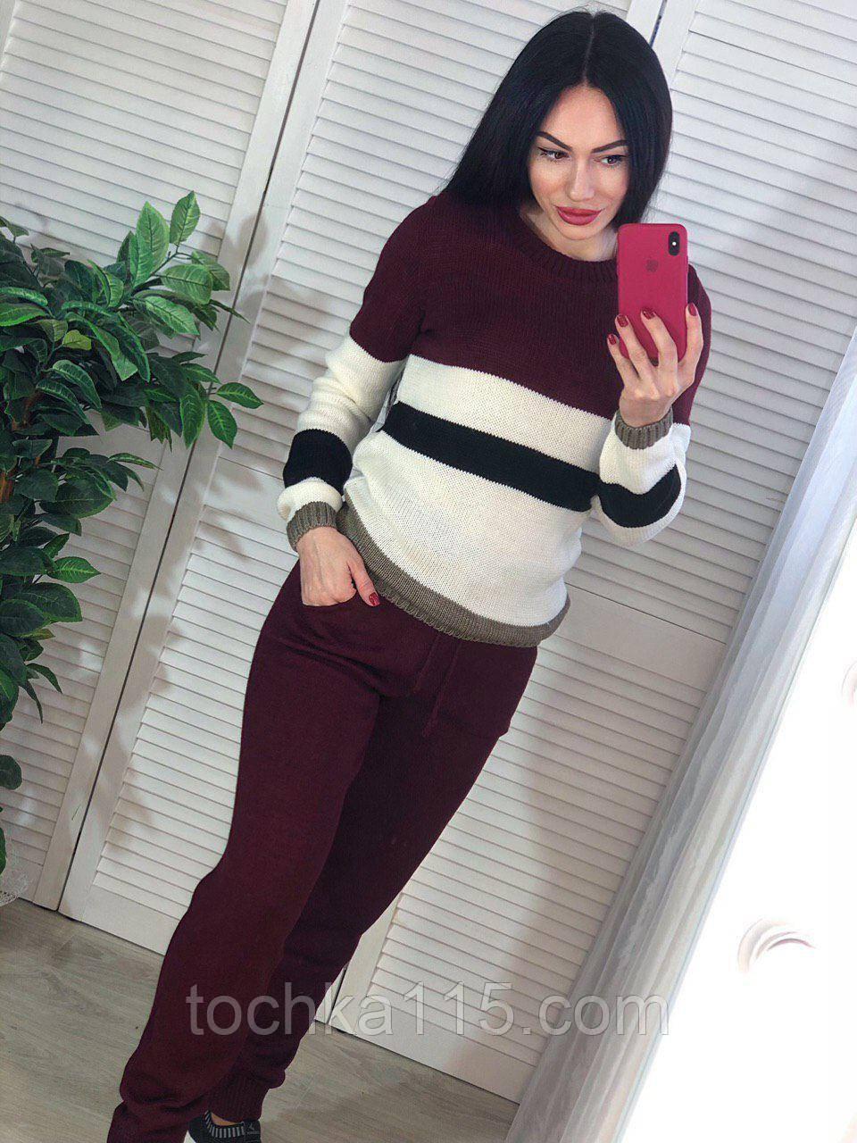 Вязаный женский костюм, теплый и приятный к телу, 42-46р, цвет бордо