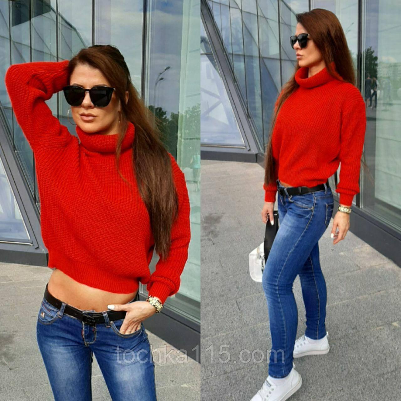 Женский вязаный свитер, теплый 42-46 рр, цвет красный
