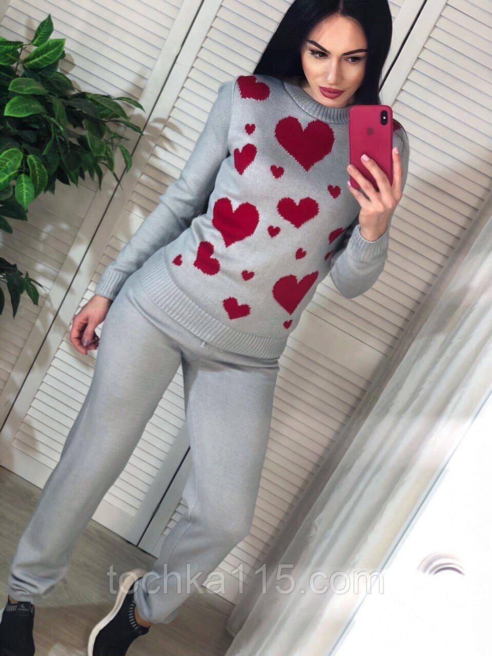 Вязаный женский костюм, теплый и приятный к телу, 42-46р, цвет серый