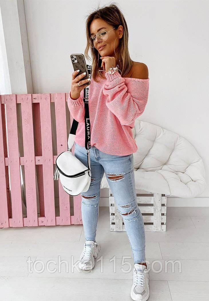 Женский базовый свитер идеально подойдёт под любые брюки и юбки, S/M/L цвет розовый