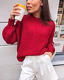Женский базовый свитер на осень, 42-46р цвет бордо, фото 3