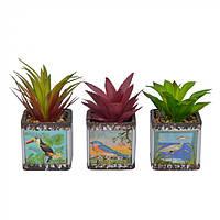 Цветы искусственные для декора Bird в горшке, из керамики, 14х7х7см, разные цвета, искусственные цветы,