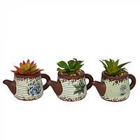 Цветы искусственные для декора Чайник в горшке, из керамики, 14х14х8см, искусственные цветы, декоративные