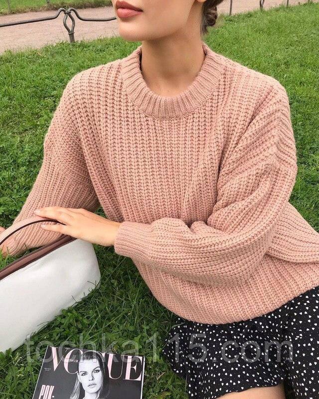 Женский базовый свитер на осень, 42-46р цвет пудра