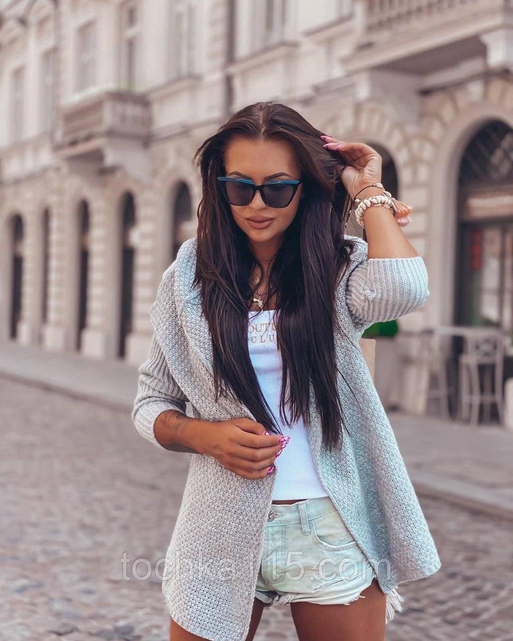 Женский вязанный кардиган идеальный вариант на прохладные вечера  42-46р, серый