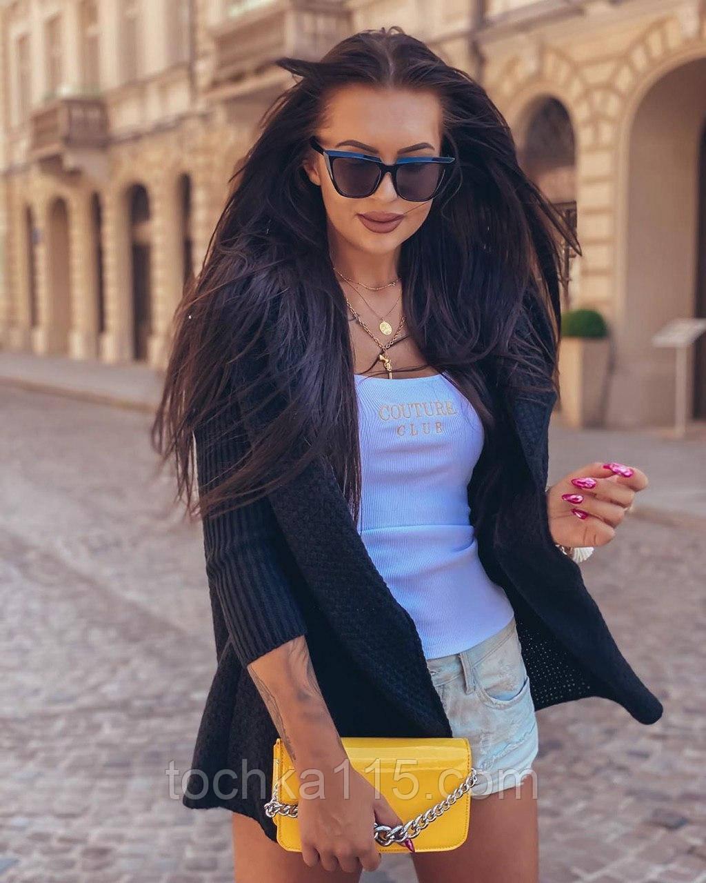 Женский вязанный кардиган идеальный вариант на прохладные вечера  42-46р, черный