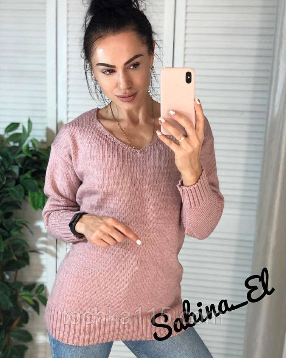 Стильний жіночий светр на осінь, 42-46р, колір пудра