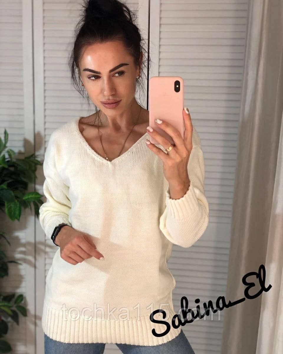 Стильный женский свитер на осень, 42-46р,  цвет молоко