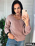 Красивый женский свитер на осень, теплый, 42-46р,  цвет розовый, фото 4