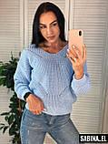 Красивый женский свитер на осень, теплый, 42-46р,  цвет розовый, фото 5