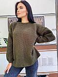 Модний подовжений стильний светр, 42-46р, колір червоний, фото 2