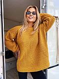 Модний подовжений стильний светр, 42-46р, колір червоний, фото 4