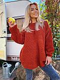 Модний подовжений стильний светр, 42-46р, колір червоний, фото 8