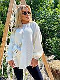 Модний подовжений стильний светр, 42-46р, колір червоний, фото 9