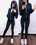 Женский спортивный костюм, костюм для прогулок есть большой размер S/M/L/XL (черный), фото 4