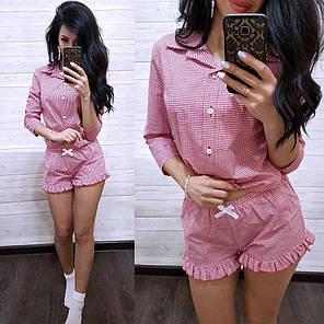 Пижама рубашка и шорты клетка хлопок, фото 2